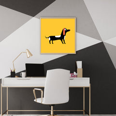 Square poster print with a dog on mustard background, wall view
