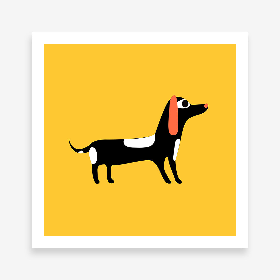 Square poster print with a dog on mustard background.