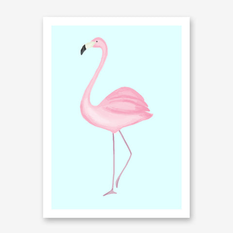 Poster print with a watercolour pink flamingo on a baby blue background.