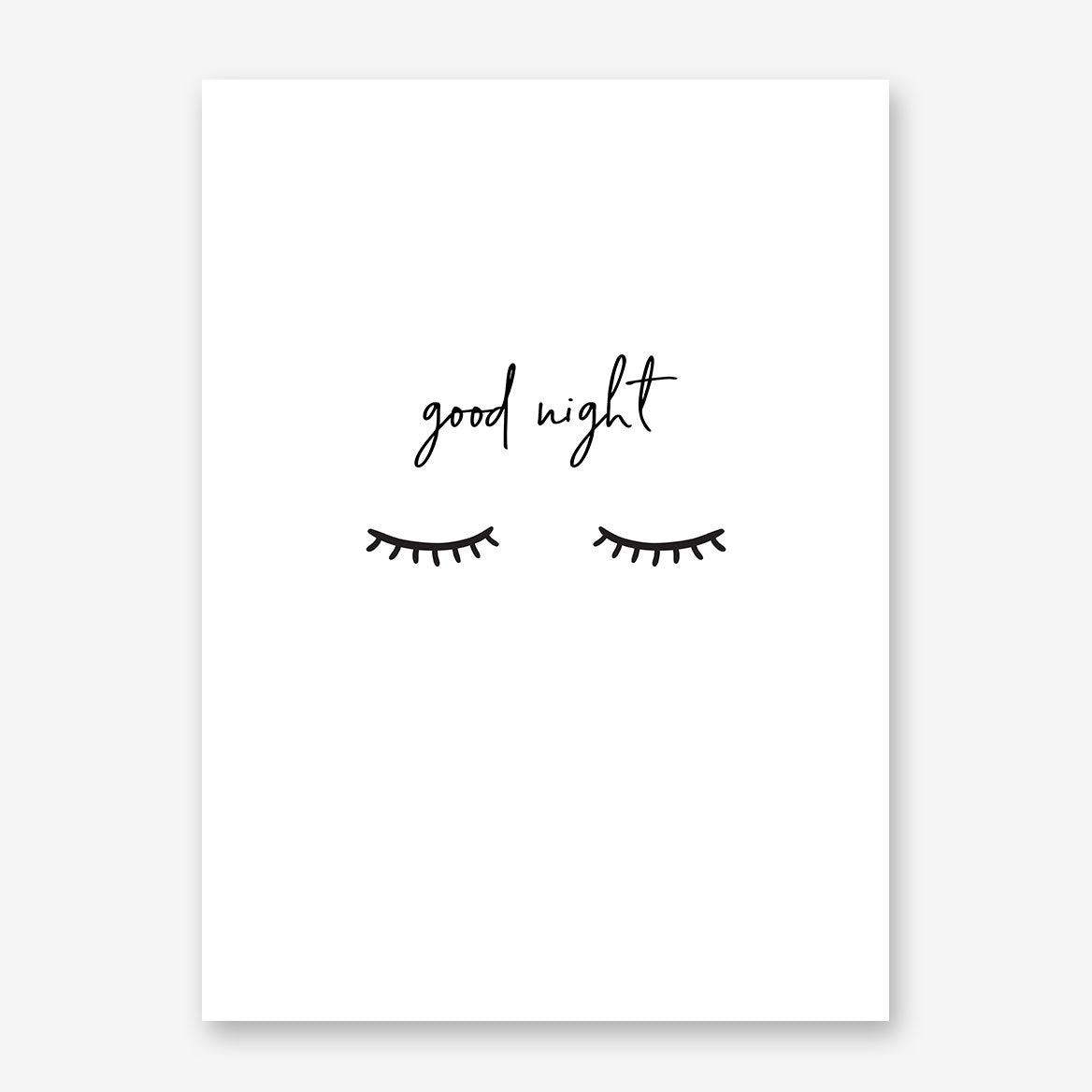 "Bedroom inspired poster print, with ""good night"" quote and eyelashes"