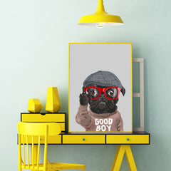 Poster print with a cute pug with hat, red eyeglasses and a jumper with the quote 'I rule the world', on grey background - wall view
