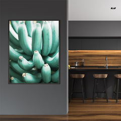 Photography poster print with a bunch of green bananas, in kitchen
