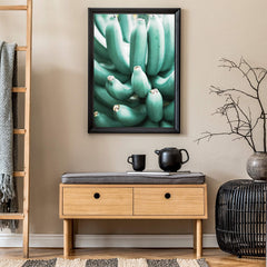 Photography poster print with a bunch of green bananas, in living room