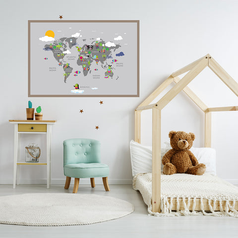 Kids world map poster print with rainbow coloured animals, on grey background, framed in children's room
