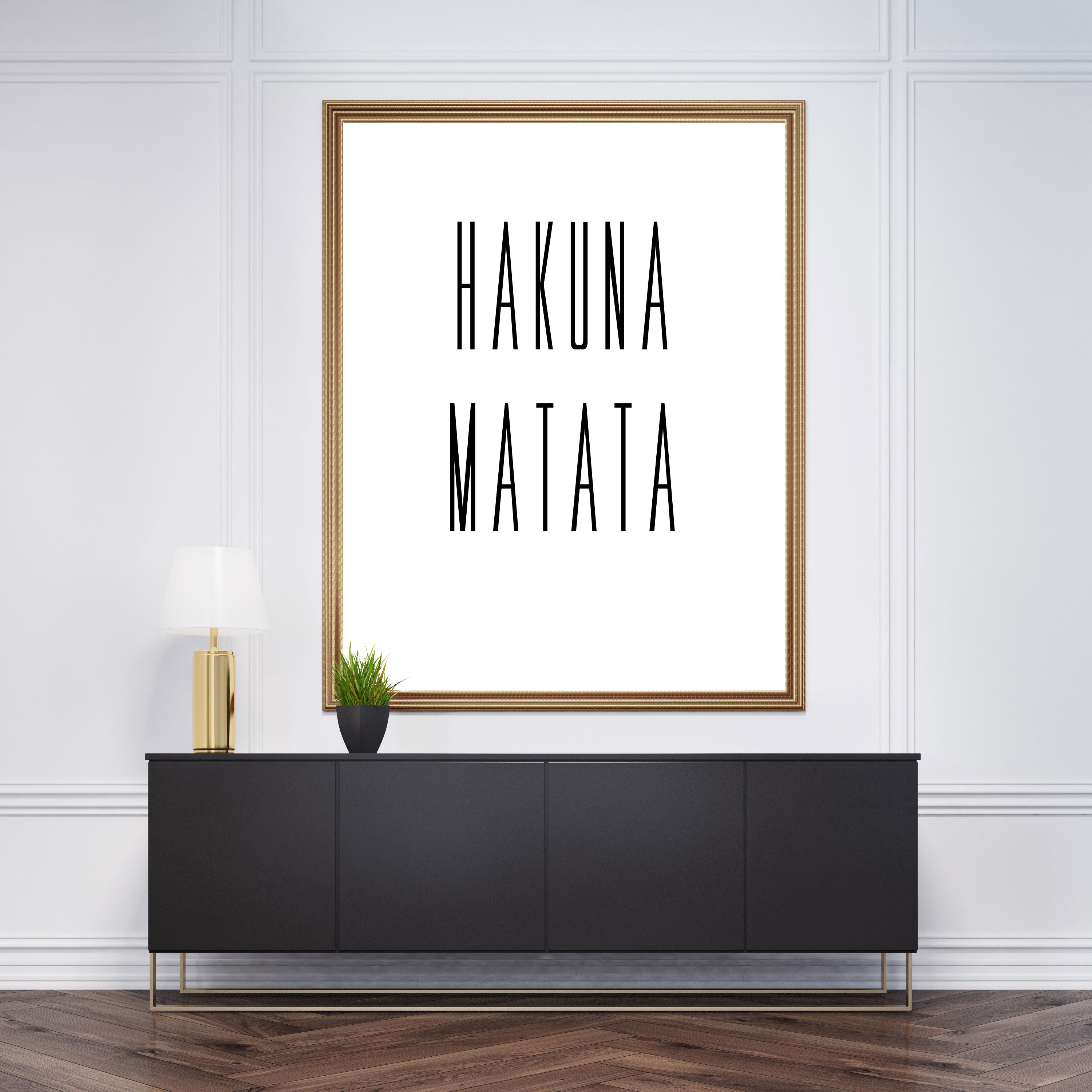 "Typography poster print, with the quote ""Hakuna Matata"", framed"