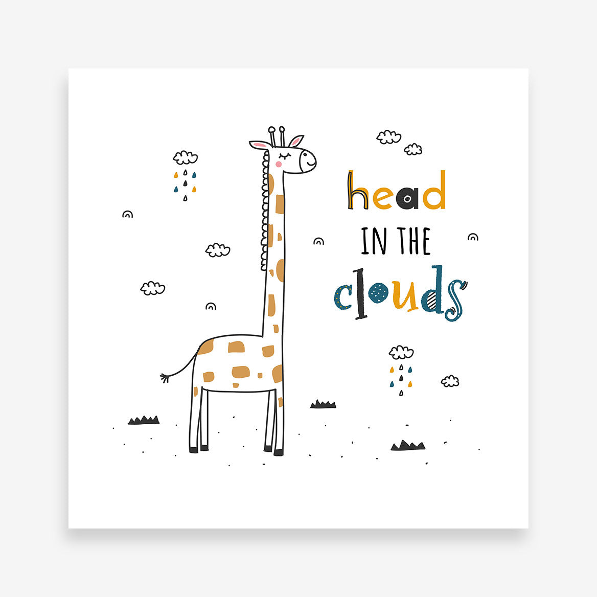 "Kids square print with a giraffe and black & yellow text ""head in the clouds"", on a white background."