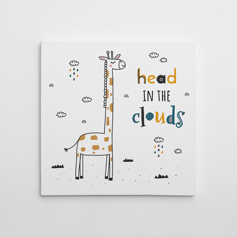 "Kids square canvas print with a giraffe and black & yellow text ""head in the clouds"", on a white background."
