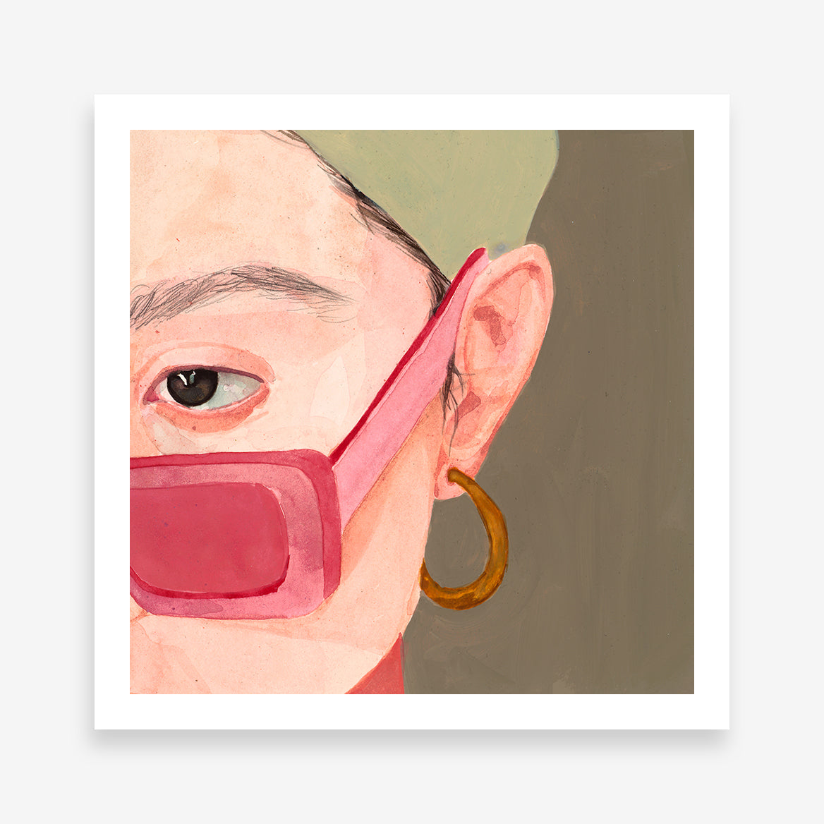 Poster print with woman's half face portrait with pink sunglasses