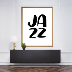 "Typography inspired poster print, with ""JAZZ"" in black, framed"