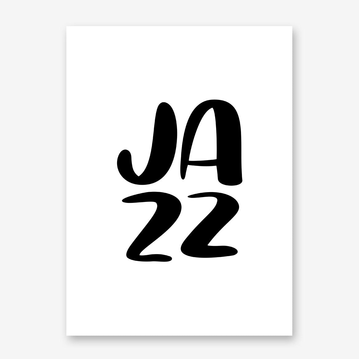 "Typography inspired poster print, with ""JAZZ"" in black"