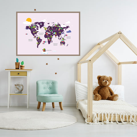 Kids world map poster print with rainbow coloured animals, on pink background, framed in children's room