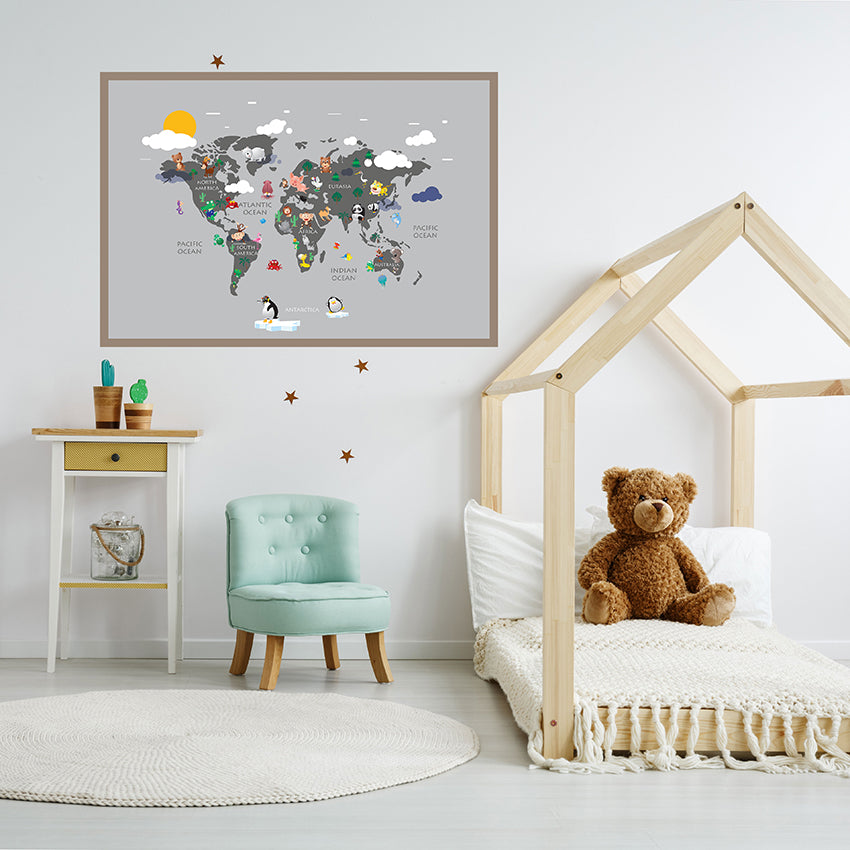 Kids world map poster print with colourful animals, on grey background, framed in children`s room