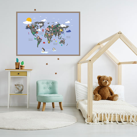Light blue kids` world map poster print with colourful animals, framed in children`s room