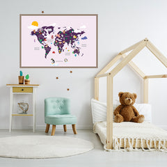Kids world map poster print with colourful animals, on pink background, framed in children's room