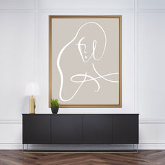 Line art poster print with white line woman's portrait on grey background, framed