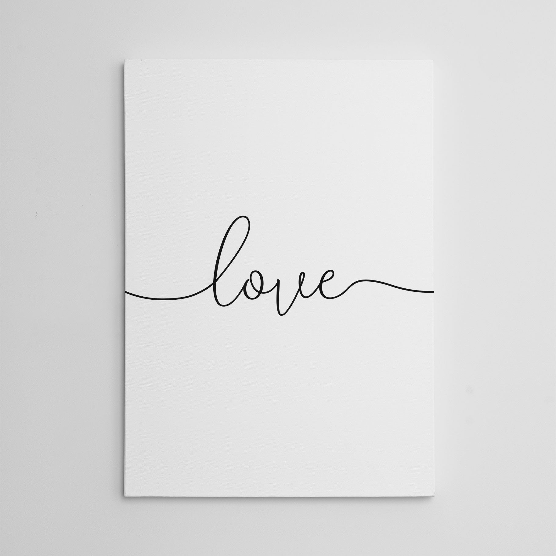 Beautiful canvas print with the single word - love.