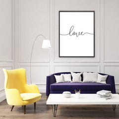 Elegant typography poster print, with the single word ''love'' - room view