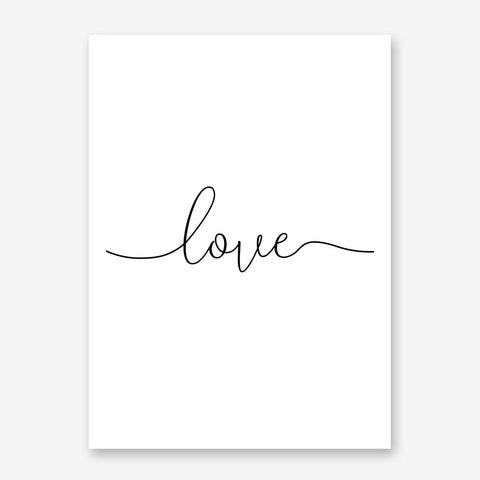 Elegant typography poster print, with the single word ''love''.