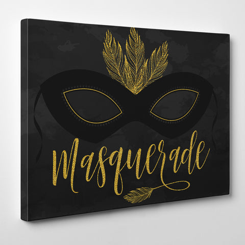 "Illustration canvas print with black and gold ball mask and gold word ""masquerade""."