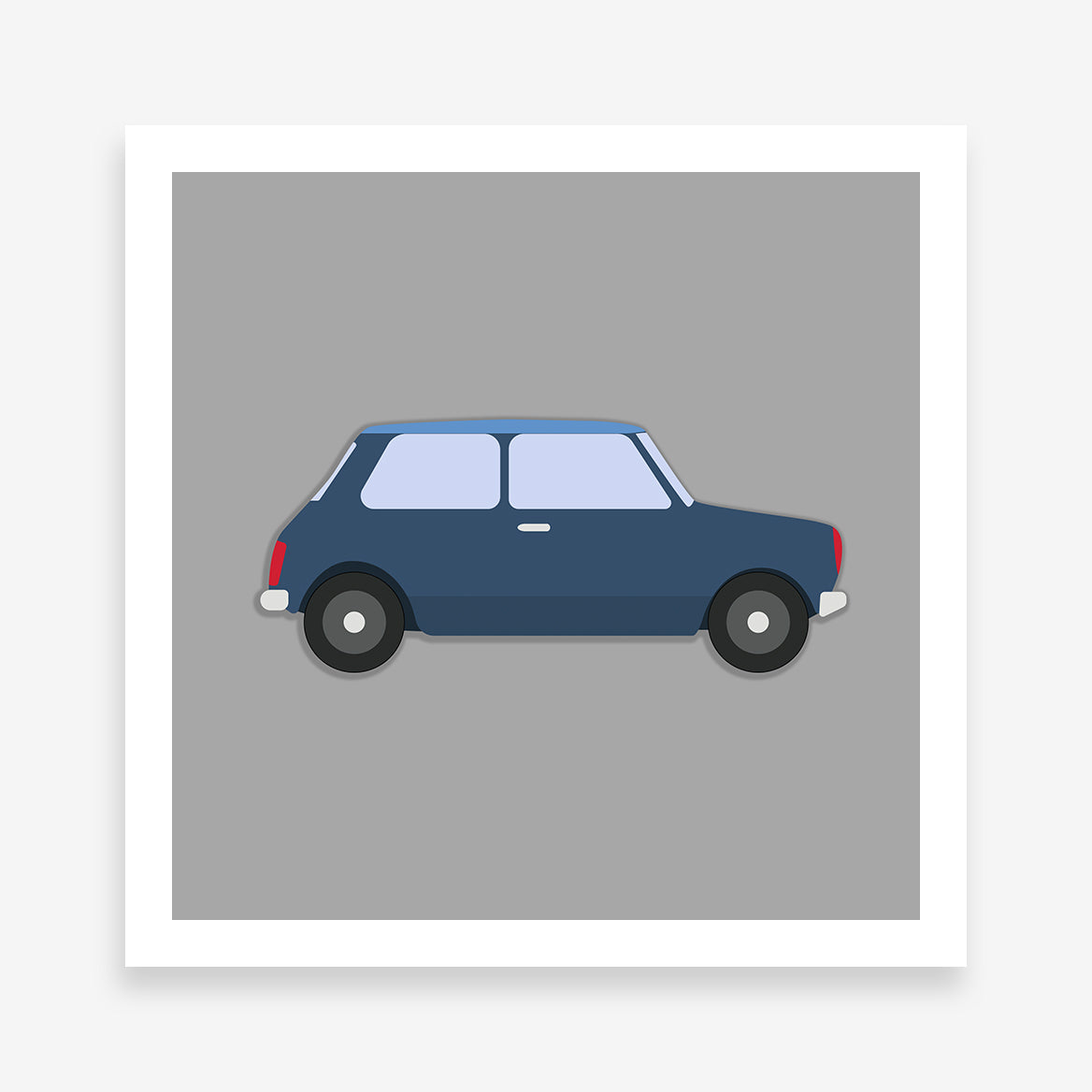 Poster print with a blue classic car on a grey background.