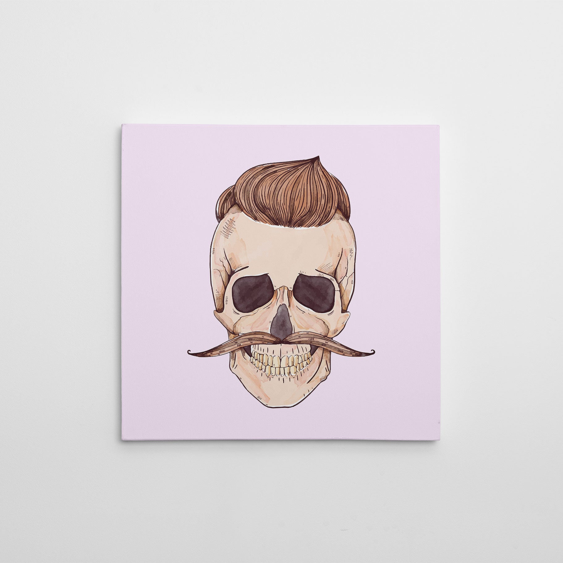 Watercolour canvas print with a male skull with hair and moustache.