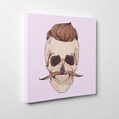 Watercolour canvas print with a male skull with hair and moustache - side view
