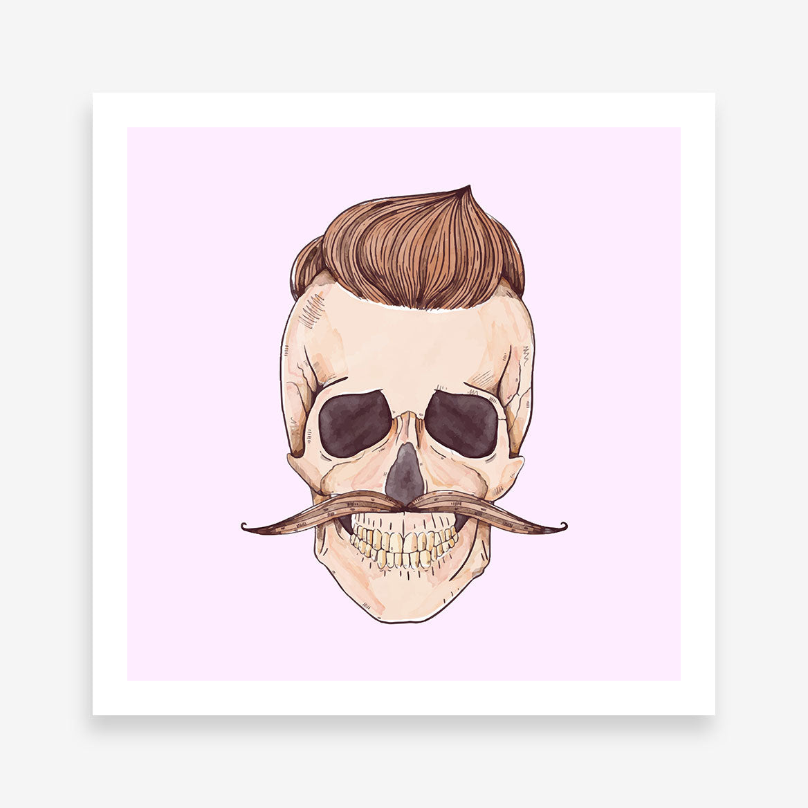 Watercolour poster print with a male skull with hair and moustache.