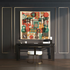 Wall art with an overlay of many earthy coloured music instruments.