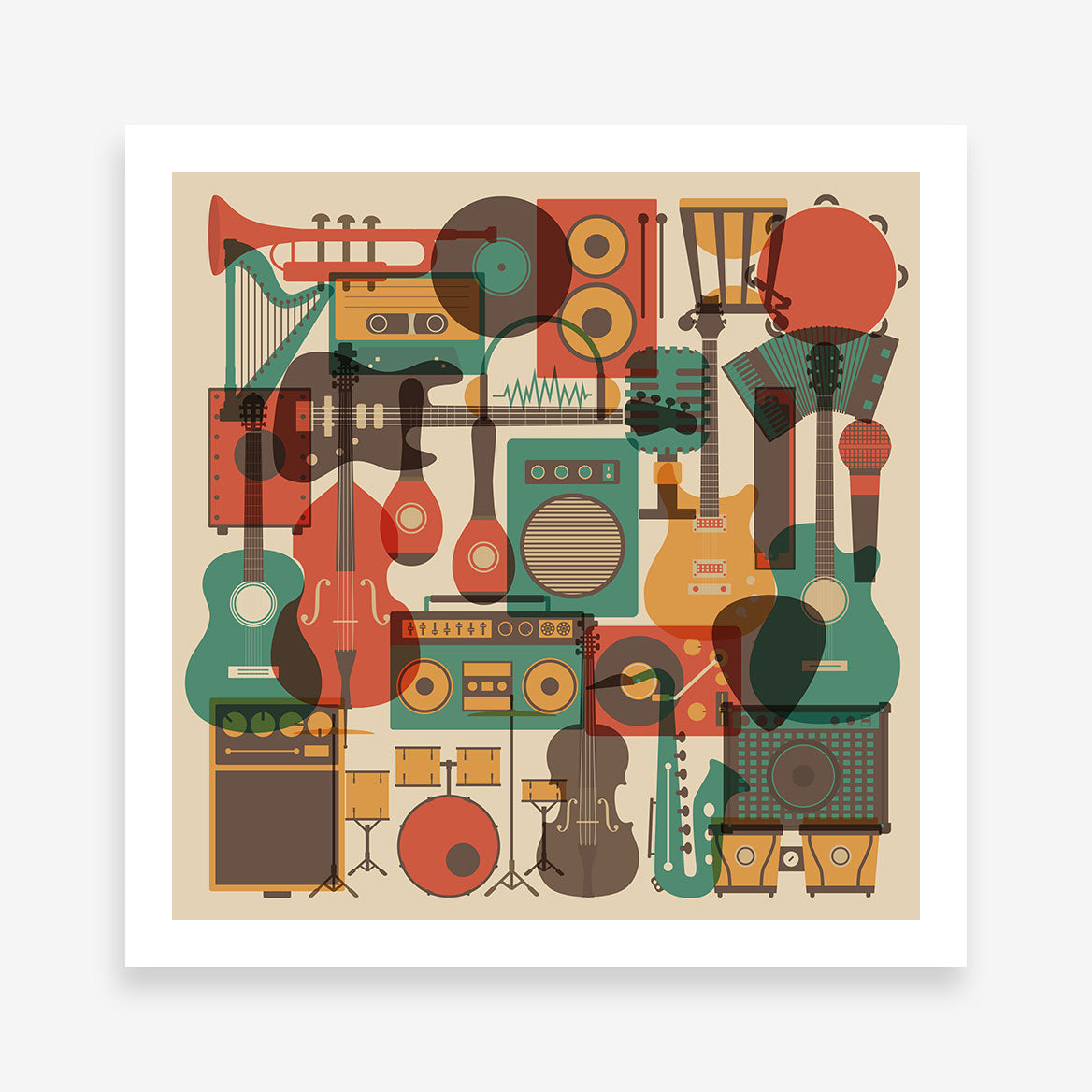 Poster print with an overlay of many earthy coloured music instruments