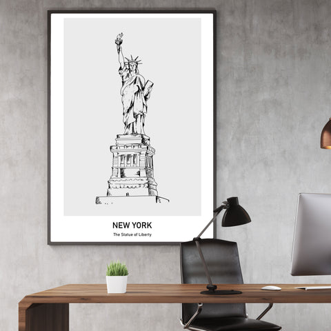 Doodle inspired poster print with drawing and text - New york, The Statue of Liberty, framed