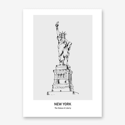 Doodle inspired poster print with drawing and text - New york, The Statue of Liberty