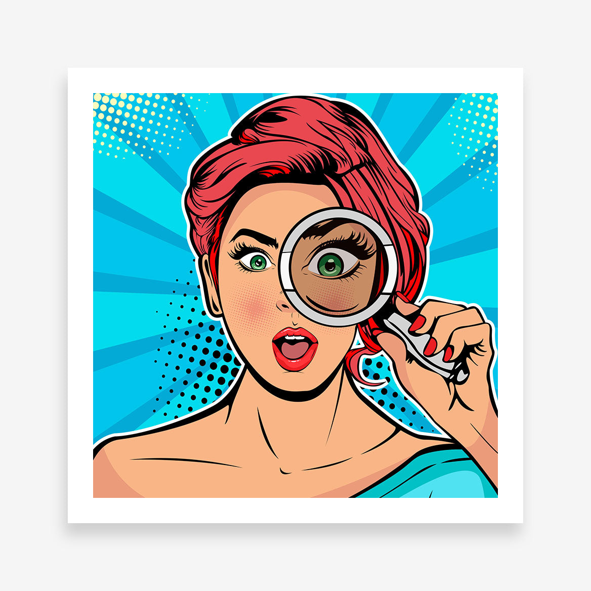 Square pop art poster print with a wowed girl with magnifying glass, on a blue background