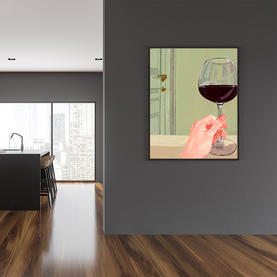 Poster print of an originally painted art, with a woman's hand holding a glass of red wine, kitchen wall view