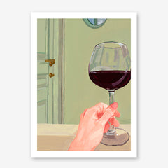 Poster print of an originally painted art, with a woman's hand holding a glass of red wine