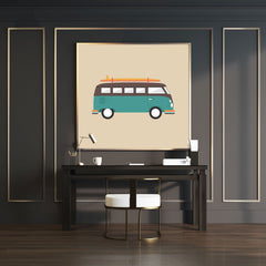 Poster print with a blue and brown retro camper van, on light brown background, full
