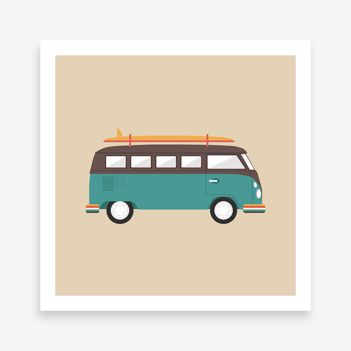 Poster print with a blue and brown retro camper van, on light brown background
