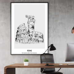 Doodle inspired poster print with drawing and text - Rome, The Capitoline Wolf/ The Colosseum, framed