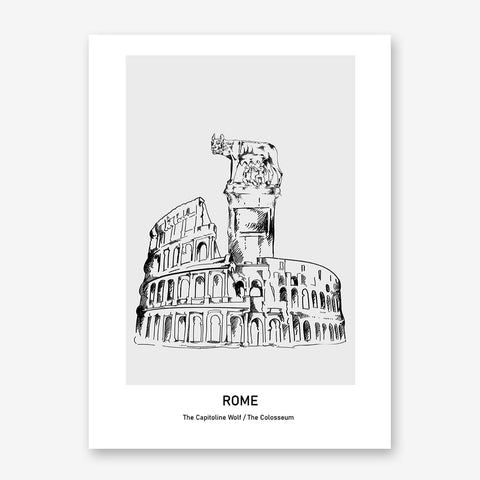 Doodle inspired poster print with drawing and text - Rome, The Capitoline Wolf/ The Colosseum