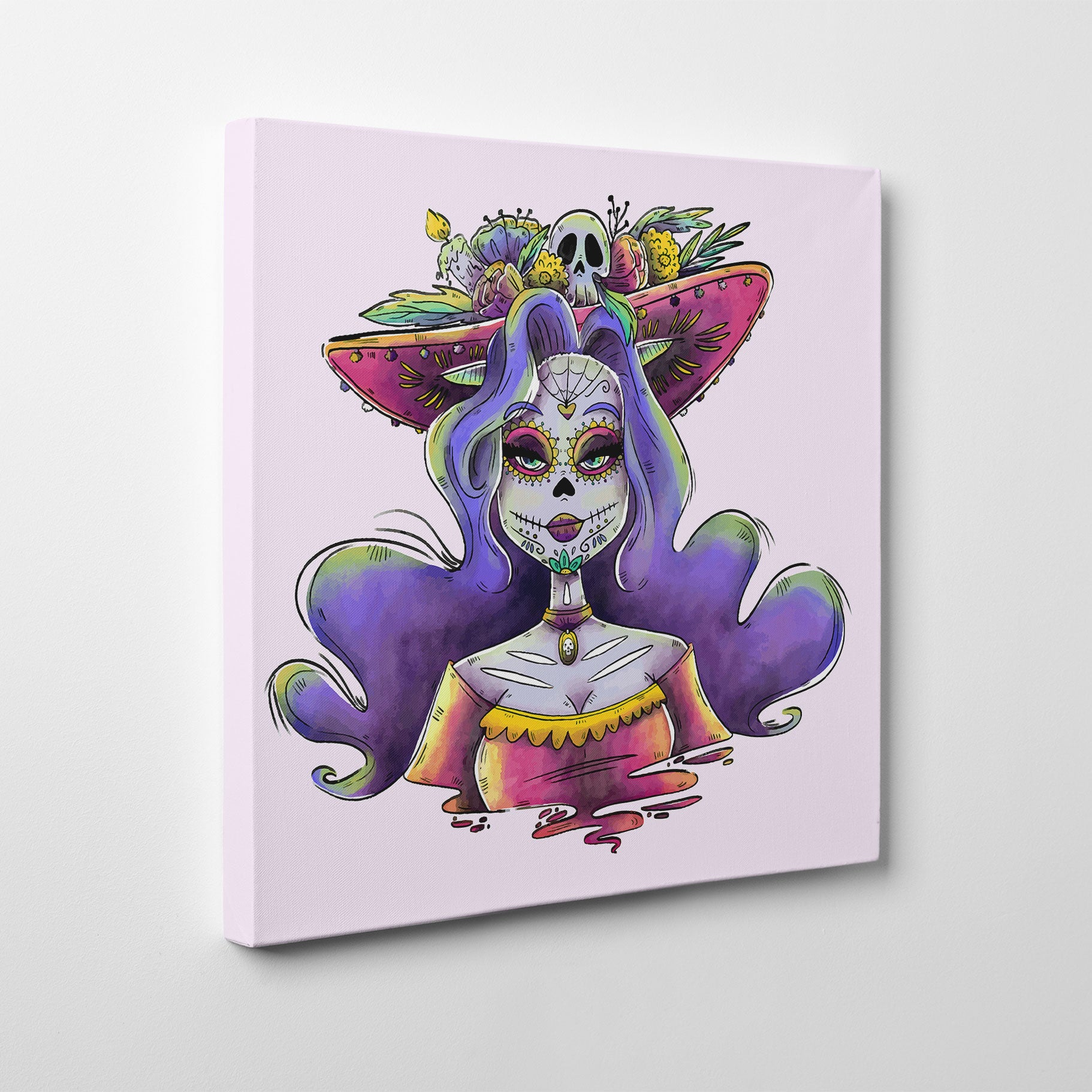 Canvas print with Sexy Catrina painted in watercolour, on a light pink background - side view