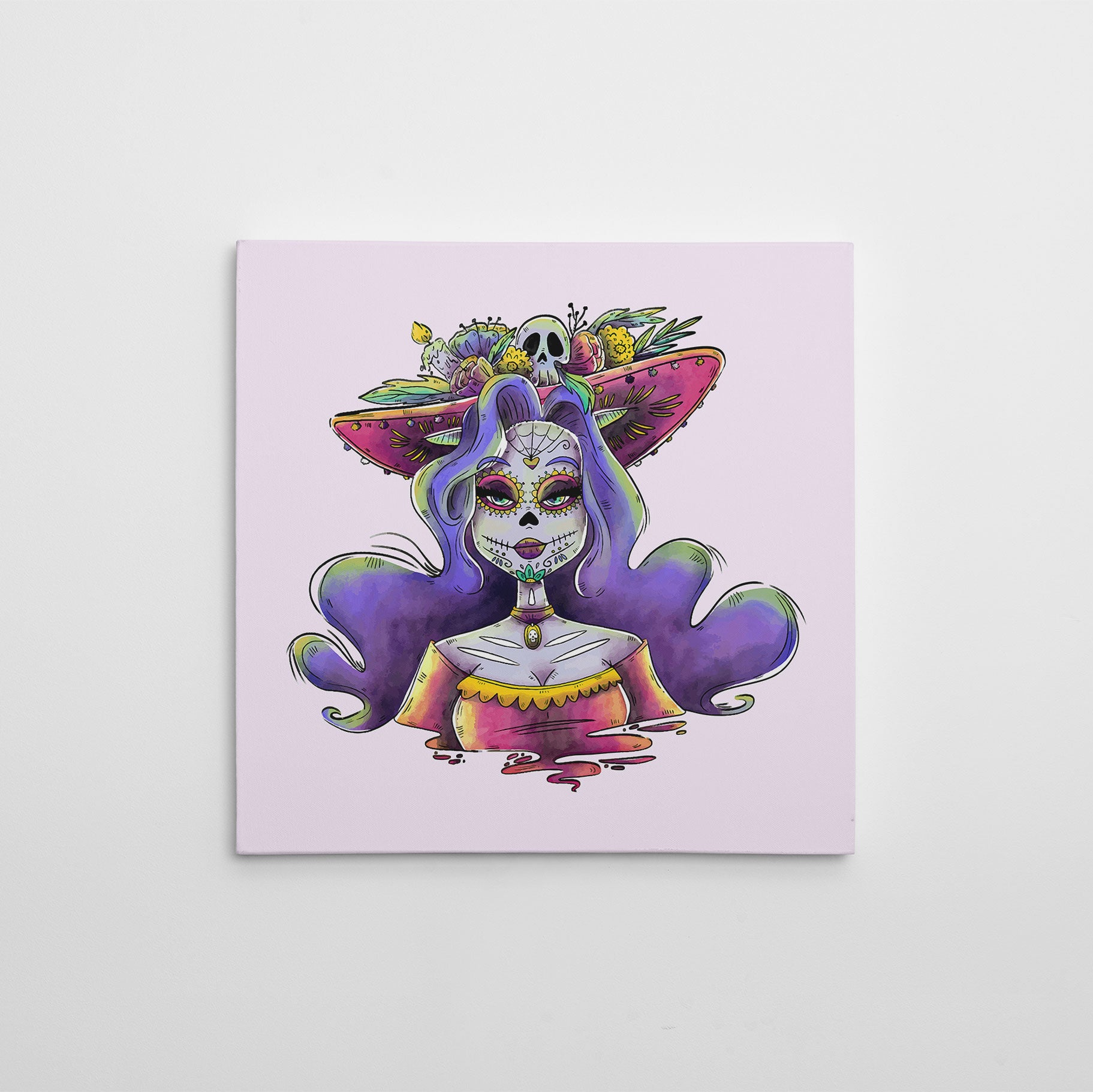 Canvas print with Sexy Catrina painted in watercolour, on a light pink background.