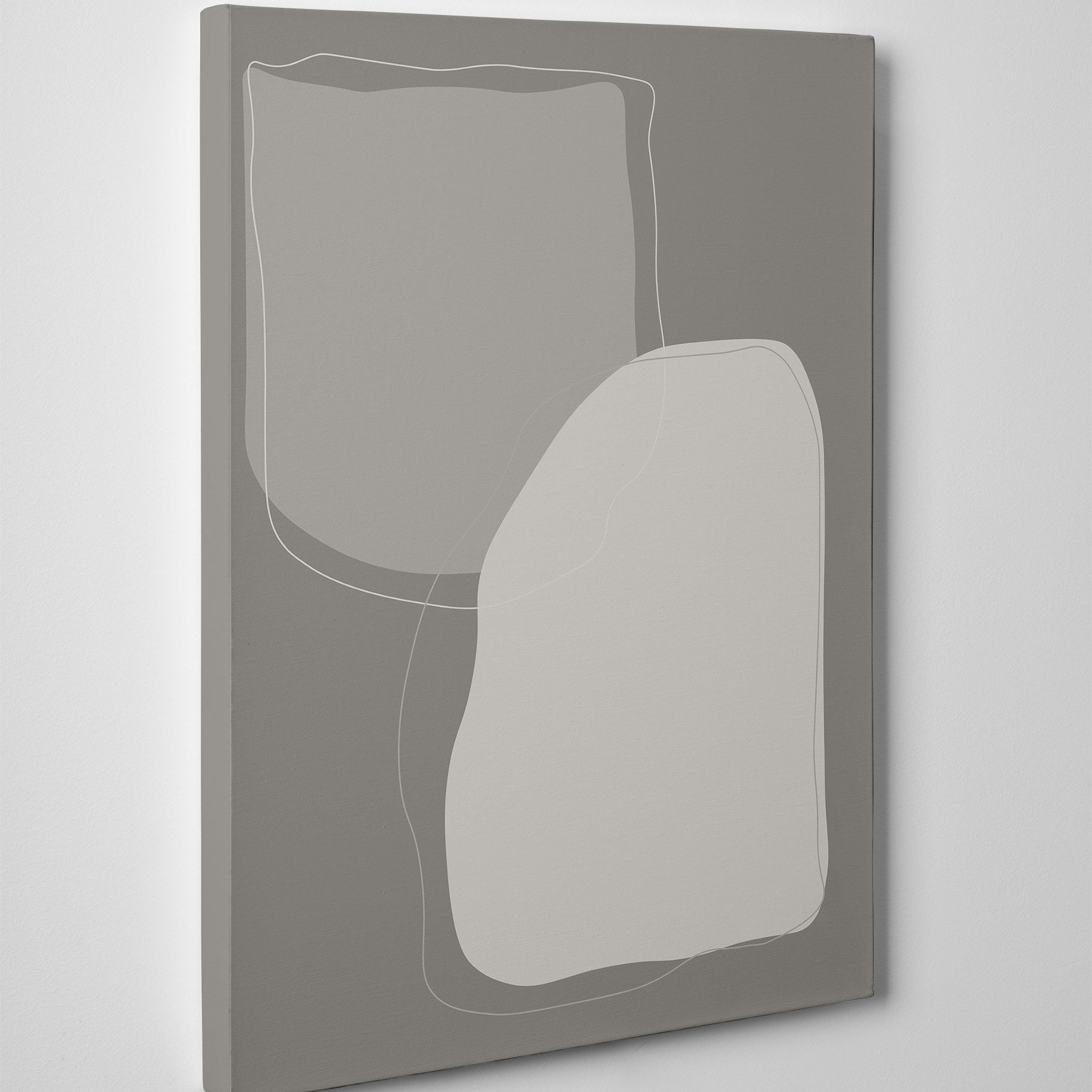 Abstract canvas print with grey shapes and background - side view