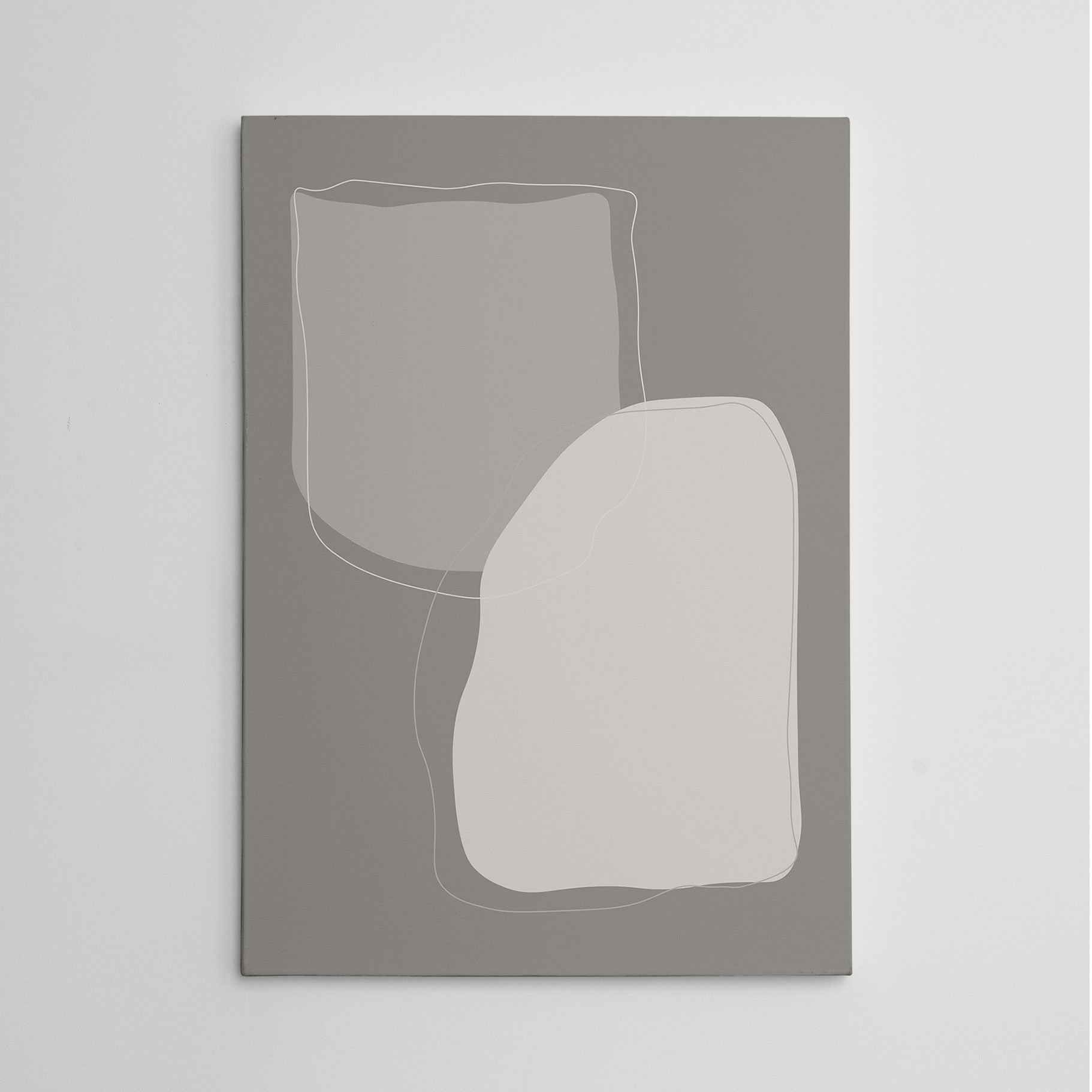 Abstract canvas print with grey shapes and background