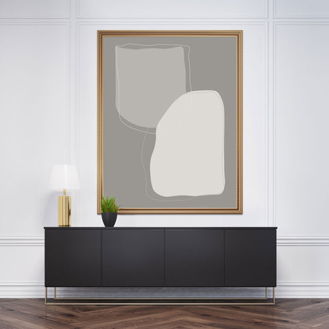 Abstract poster print with grey shapes and background - framed