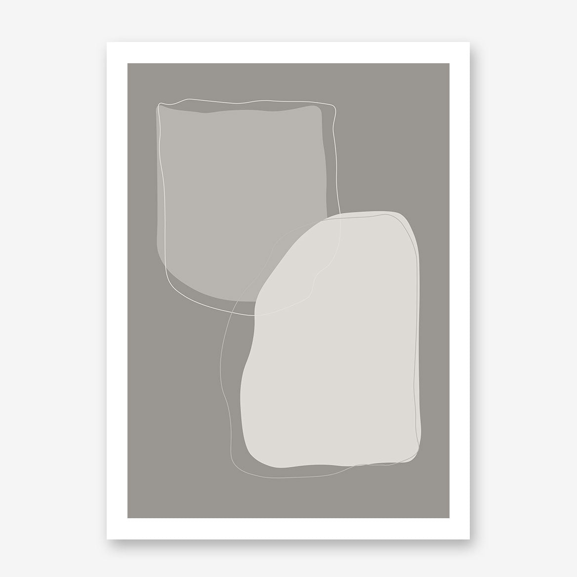 Abstract poster print with grey shapes and background.