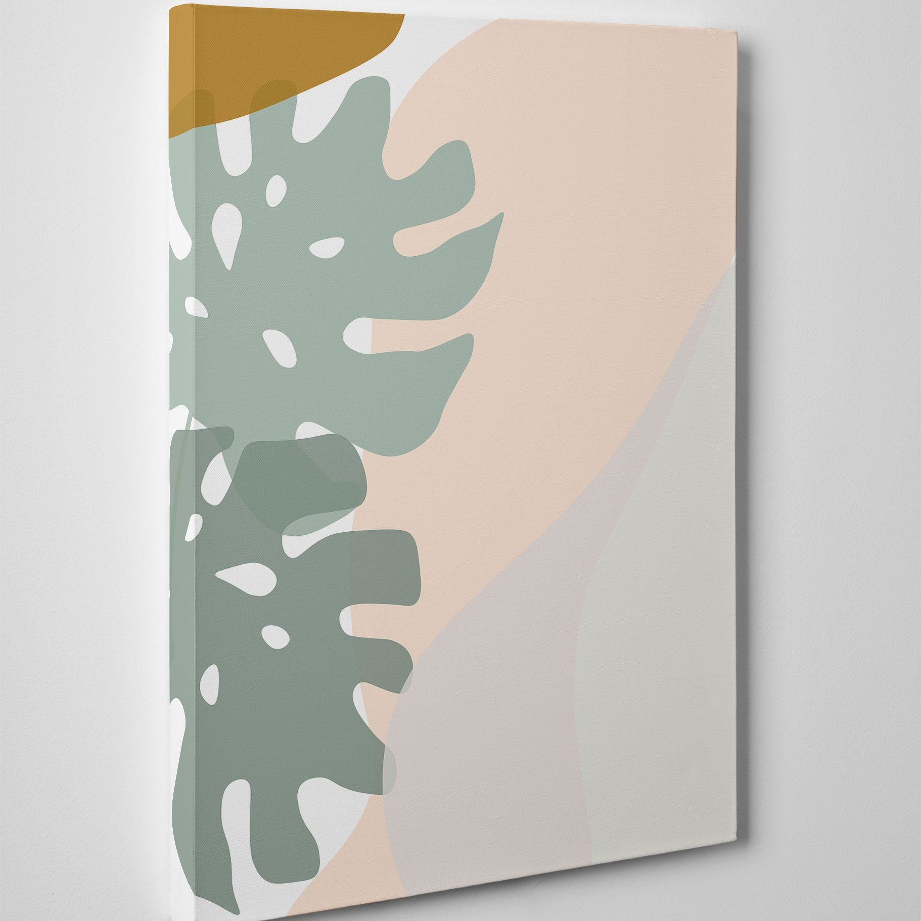 Abstract drawing canvas print with grey and pink leaves and shapes drawing on white background - side view