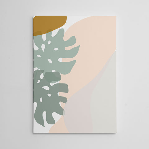 Abstract drawing canvas print with grey and pink leaves and shapes drawing on white background
