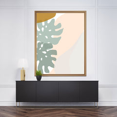 Abstract drawing poster print with grey and pink leaves and shapes drawing on white background - frame view