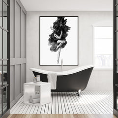 Black and grey poster print by Robert Farkas, with a woman embracing the smoke, in bathroom