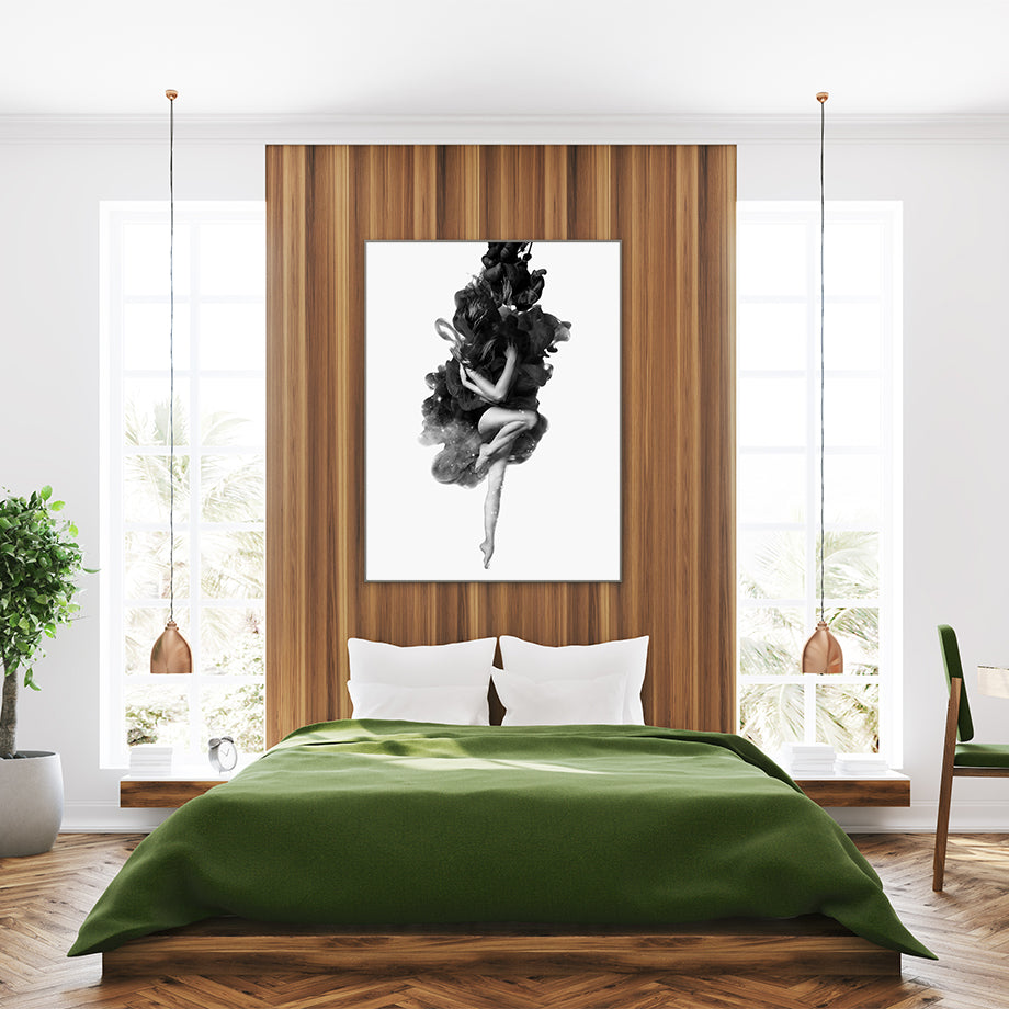 Black and grey poster print by Robert Farkas, with a woman embracing the smoke, in bedroom