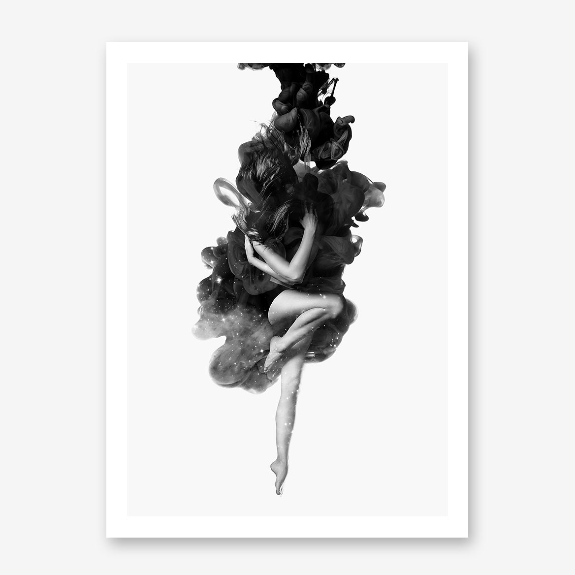 Black and grey poster print by Robert Farkas, with a woman embracing the smoke.